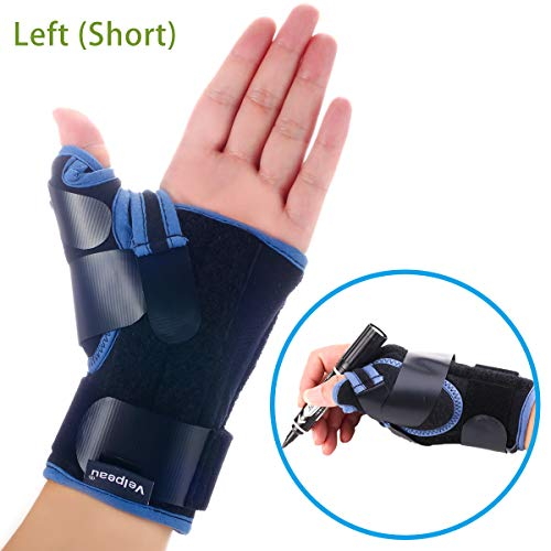 (Velpeau Wrist Brace with Thumb Spica Splint Support for De Quervain's, Scaphoid Fracture, Sprain or Muscle Strain, Carpal Tunnel Relief, Injury Recovery for Men & Women (Short, Left Hand - Medium))