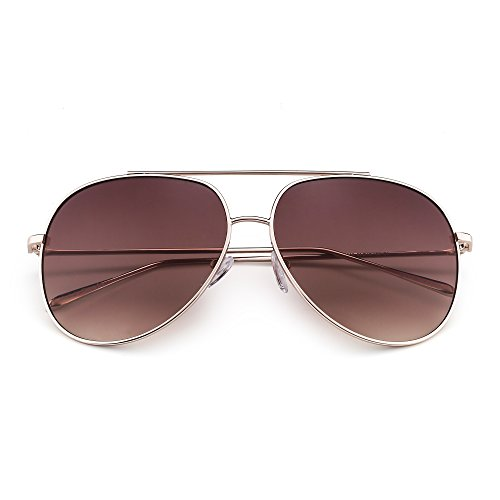 Classic Oversized Aviator Sunglasses for Men Women Double Bridge Gradient Lenses UV400 (Gold / Gradient - Oversized Aviator