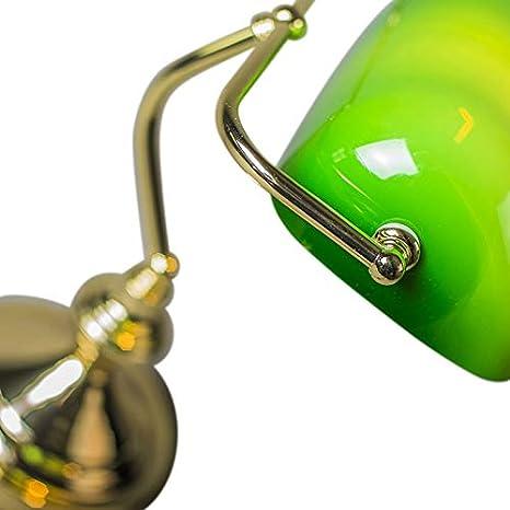 Verde//Oro 1 x 60 QAZQA Lampada da notaio banker Vetro,Acciaio Tondo//Oblungo Max Retr/ò