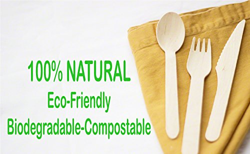 Wood set cutlery biodegradable-disposable-eco friendly-100 wooden forks-100 knives-100 spoons-For Parties, Picnics, Events & Weddings – Durable & Environmentally Safe by OFO WOOD (Image #9)