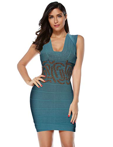 (Meilun Women's Strapless Foil Beaded Sexy Mini Bandage Bodycon Gold Dress (Small, Olive))