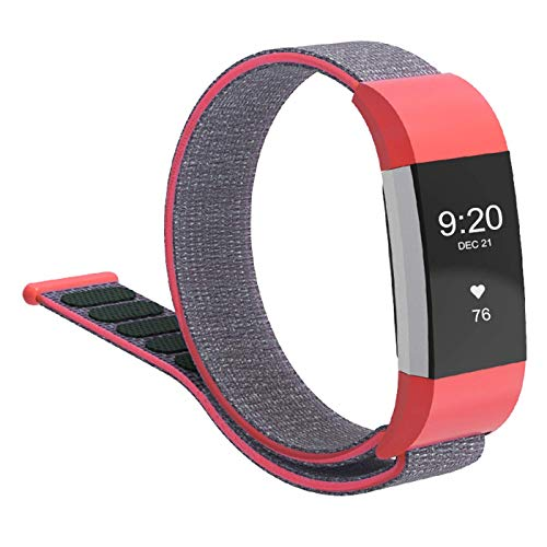 CosyZanx Compatible with Fitbit Charge 2 Bands Soft Nylon Sport Wristbands for Men Women Lightweight Replacement Straps Accessories Bands for Fitbit Charge 2 Fitness Tracker