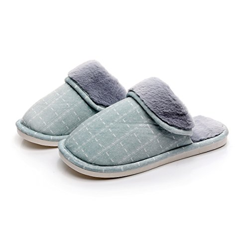 Floral Style Lined Indoor Clog Havina Plush House Slippers Mens and On Green Slip Fleece Womens X8xHqwOxU7