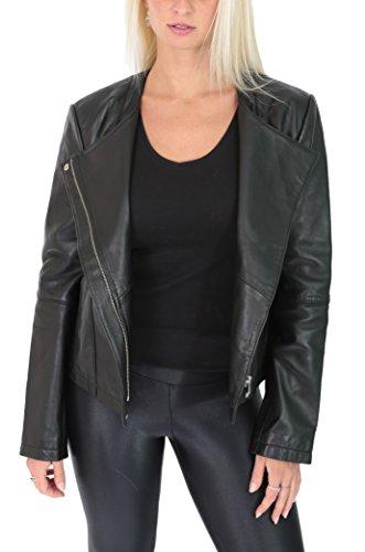 Leather Leather in Cerniera House Senza Nero Nero Nero a Stile Croce Collare Daisy Misura Biker Tagliato Donna Giacca Of Pelle pxwq5T