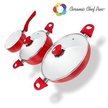 Appetitissime Chef Pan Batería de Cocina, Aluminio, Rojo, 26 cm, 5 Unidades