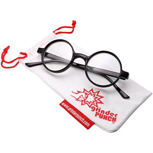 grinderPUNCH Adult Size Wizard Glasses Clear Lens Costume BLACK (Cute Scary Halloween Costumes)