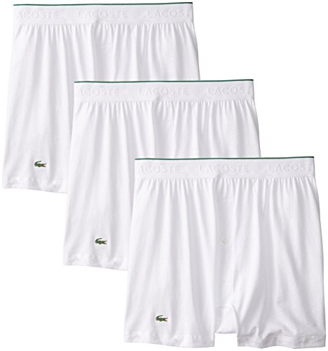 9aa98d2d24a806 Lacoste Men s 3-Pack Essentials Cotton Knit Boxer White  Amazon.ca  Clothing    Accessories