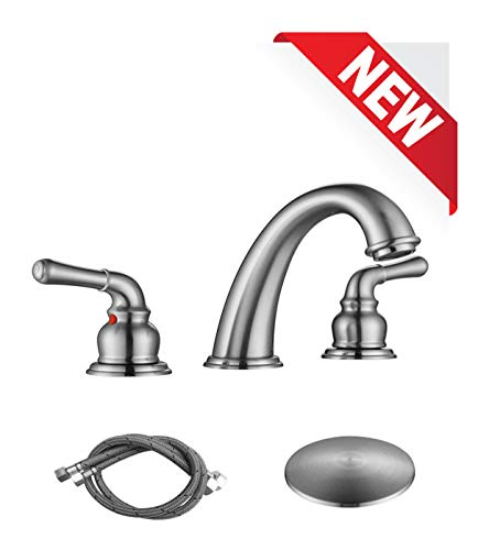 RKF Two Handle Widespread Bathroom Sink Faucet with Pop-up Drain and Faucet Supply Hoses,Brushed ()