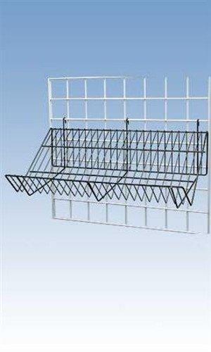 Lot of 6 New Retails Black Downslope Grid Shelf - 48''L x 12''W x 6''D x 4''H