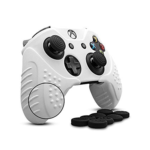 Cybcamo Silicone Skin Cover Grip Set for Xbox One X & One S Controller, Anti-Slip Protector Case for Microsoft Xbox 1 Controller with 8 Thumbstick Caps (White) ()