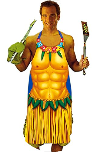 [Luau Six Pack Body Design on a Vinyl Apron for Men, 36 inches] (Hawiian Costumes)