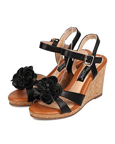 Dbdk Fk05 Mujer Leatherette Flower Open Toe Correa Para El Tobillo Sandalia Cuña De Plataforma De Corcho - Negro