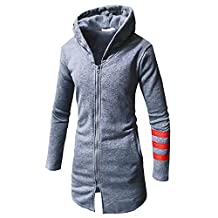 Hanican Men Hooded Long Coat Striped Long Sleeve Jacket Casual Warm Zipper Blouse