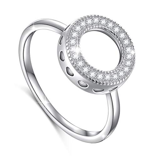 DAOCHONG Minimalist Jewelry Simple 925 Sterling Silver Cz Open Circle Ring Size 7 for Women Ladies Girls Bday Gift