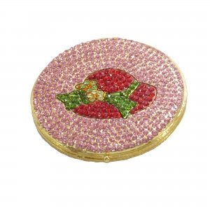 Brand New Flamingo Pink Hand Painted Enameled Womens Hat Compact Mirror Studded With Swarovski Elements -