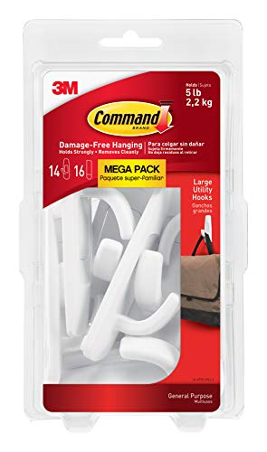 Command 051141993133 Large Utility Mega Pack, White, 14-Hooks, 16-Strips (17003-MPES)