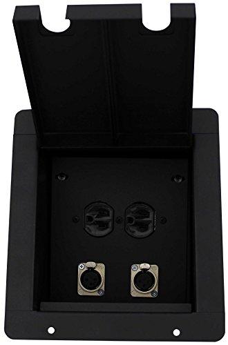 Pro Co Sound PM2XF1AC Recessed Floor Box, 2) XLRF, 1) AC Duplex Receptacle by Pro Co Sound