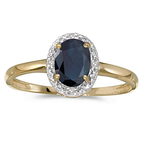 0.80 Carat (ctw) 14k Gold Oval Blue Sapphire And Diamond Halo Engagement Promise Fashion Ring (7 X 5 MM)