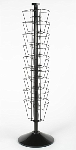 """Rotating Wire Display Rack for Use in Small Spaces, 60""""h x 15-3/4""""d, Free Standing Floor Fixture with 18 Stacked Pockets, Black Welded Wire with Plastic Base"""