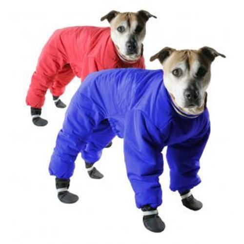 Muttluks Four Legged Nylon Reversible Snowsuit - Red and Blue, Size: 26 (Warm Coats)