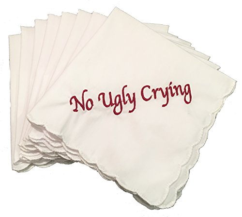 Perfect Bridesmaid Gift No Ugly Crying Wedding Handkerchief Set of 8 (Burgundy)