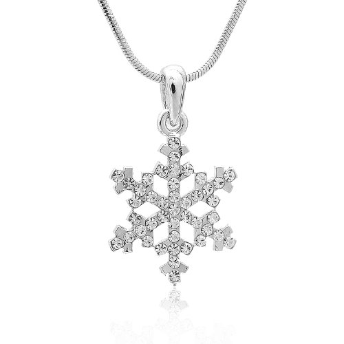 Silver Plated Crystal Snowflake Necklace (1