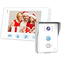 SAFEBAO Wired Video Door Phone Intercom System 7-inch Color Monitor and HD Camera Video Doorbell with Night Vision Mounted Outdoor Doorbell (WIHTE)