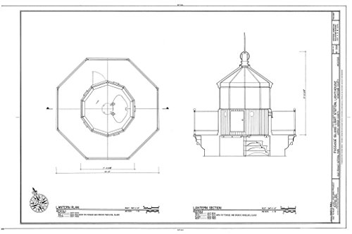 - Historic Pictoric Structural Drawing HABS MICH,42-COPHAR.V,1A- (Sheet 7 of 8) - Passage Island Light Station, Lighthouse, Copper Harbor, Keweenaw County, MI 66in x 44in