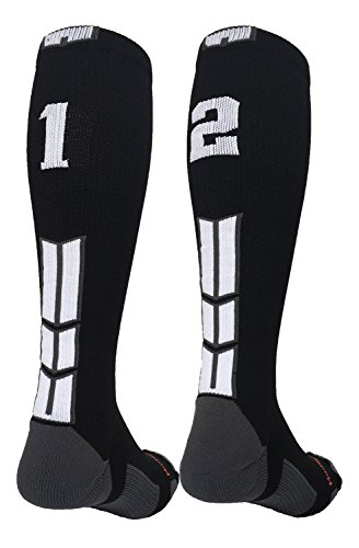 - MadSportsStuff Player Id Black/White Over The Calf Number Socks (#12, Small)