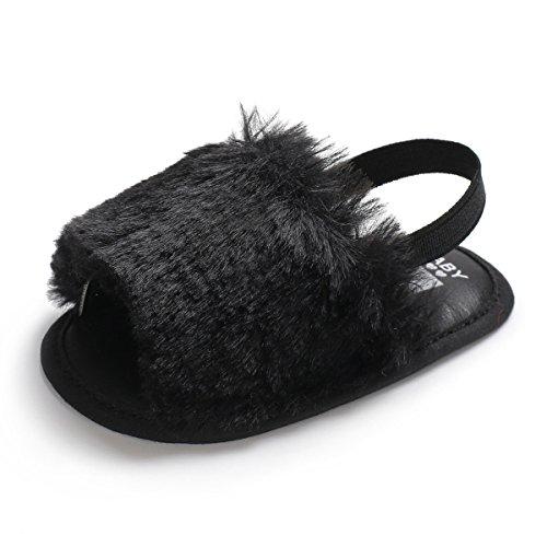 BENHERO Baby Girls Sandals Faux Fur Slides with Elastic Back Strap Flats Toddler Infant Prewalker Summer Shoes (0-8 Months M US Infant) ()