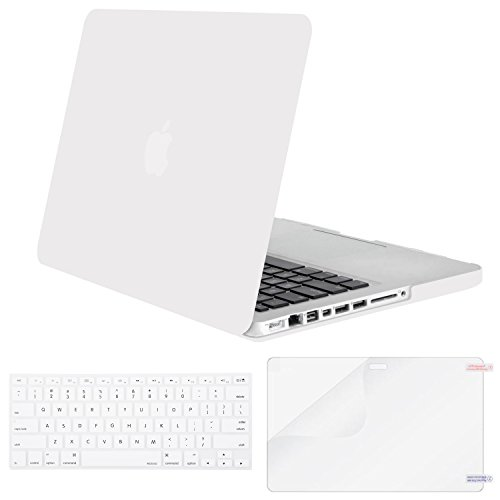 Mosiso Plastic Hard Shell Case with Keyboard Cover with Screen Protector Only for Old MacBook Pro 13 Inch with CD-ROM (Model: A1278, Version Early 2012/2011/2010/2009/2008), White
