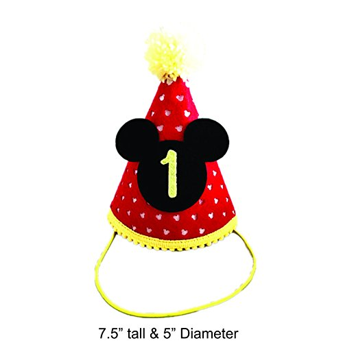 Mickey Party Hat| First Birthday Outfit Boy Mickey Mouse Party Hat Cake Smash Outfit | 1st Birthday Outfit | Party Hat | Cake Smash Cake Photoshoot Photoprop (First Birthday Hat, Elastic Strap) -