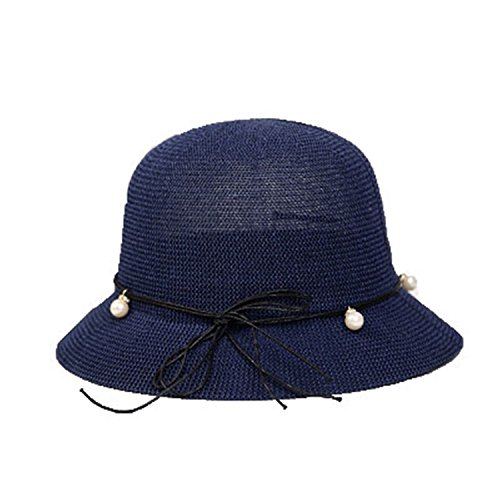 (Women's Summer Beach Sun Hat Wide Brimmed Foldable Fashion,Navy)