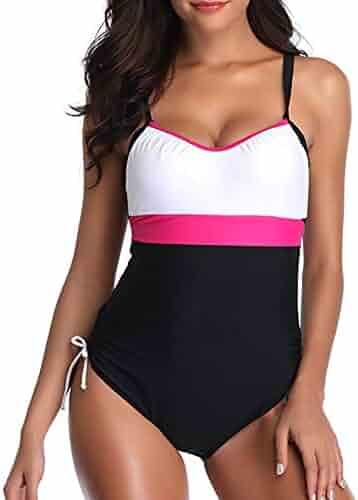 c8fc0c98135 Zando Women's Ladies Vintage One Piece Swimsuits for Women Beach Swimwear  Bathing Suit