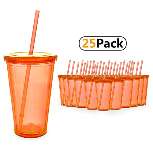 1 Beverage Hot (Masvis Tumblers Double Wall Acrylic Coffee Cup Clear Plastic Tumblers with Lid, Straws - Travel Mug Works Great for Ice Drink, Hot Beverage (16oz, 25pack - Mint green))