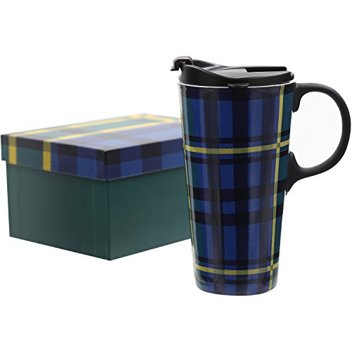 CEDAR HOME Travel Coffee Ceramic Mug Porcelain Tea Cup With Lid Gift Box 17oz. Blue