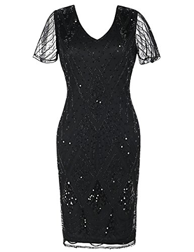 Dress Bead 1920s Sleeves Dress Flapper s Women kayamiya Inspired Black Cocktail Sequin Gatsby nAPSP6a0