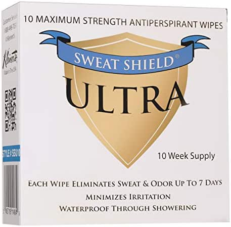 Sweat Shield Ultra Antiperspirant - Clinical Strength - Reduce Sweat Up To 7-Days Per Use (10 Antiperspirant Wipes) per box.