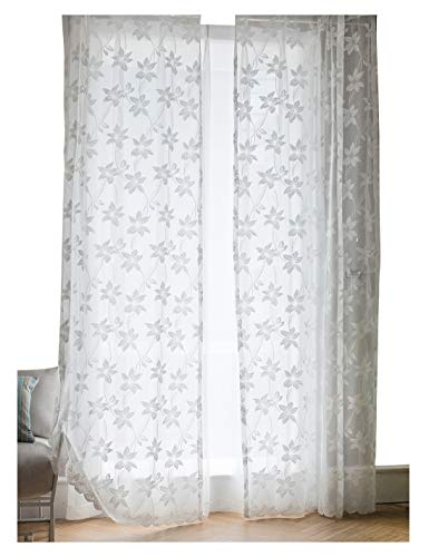 - ASide BSide Urban Style Wrap Knitting Jacquard Sheer Curtains Rod Pocket Flowers Pattern Window Decorations For Living Room Dining Room and Bedroom (1 Panel, W 52 x L 63 inch, White)