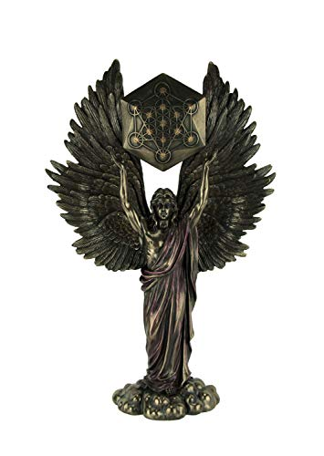 Veronese Design Archangel Metatron Holding Up Sacred Geometry Cube Statue