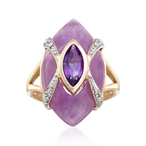 Shape Diamond Jade (Ross-Simons .80 Carat Amethyst and Lavender Jade Ring With Diamonds in 18kt Gold Over Sterling)