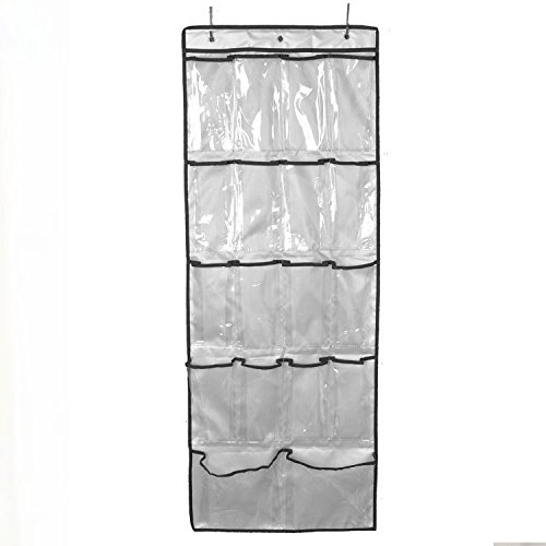 WYD Clear Over The Door Hanging Shoe Organizer | 18 Pocket Shoe Storage Rack Bag Oxford Clothing Shoes