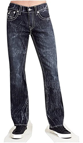 True Religion Men's Straight Leg Relaxed Fit Big T w/ Flap Jeans in Black Rogue Chase (29, Black Rogue Chase) by True Religion