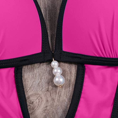 Schwarz//Pink Speedo Passform Laneback Badeanzug Bügellos