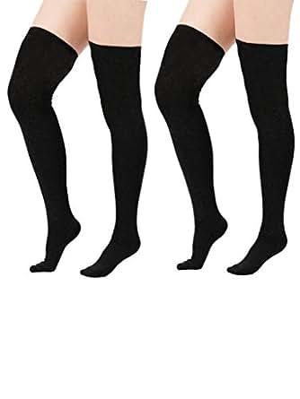 Zando Women Cotton Triple Stripes Tube Over Knee Thigh Plus Size Stockings Socks 2 Pairs Black