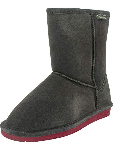BEARPAW Girl's Emma Youth 6.5'' Snow Boots, Grey Suede, Rubber, 5 Big Kid M for $<!--$43.89-->