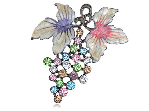Multicolored Austrian Crystal - Alilang Austrian Crystal Rhinestone Multi-Colored Grape Fruit Fashion Pin Brooch Pendant