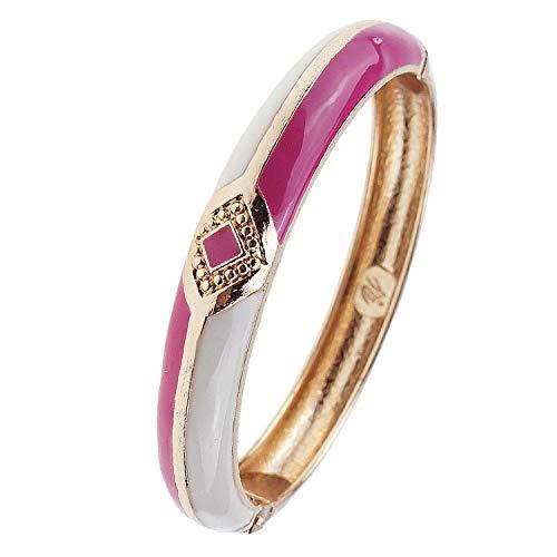 UJOY Vintage Bracelet Colorful Cloisonne Women Girls Hinged Bangles Enameled Bracelets Jewelry Gifts 55A41 Knot Rose red - Gold Enameled Red Rose