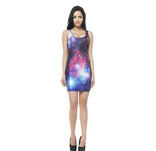 Ailsa Anne Women's Sexy Slim Milky Way Stars Pattern Short Sleeveless Vest Dress