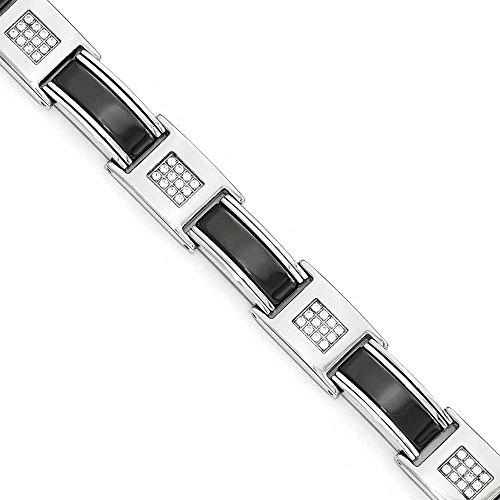 En acier inoxydable poli avec Zircones cubiques et en céramique Noir-Bracelet Femme-23cm